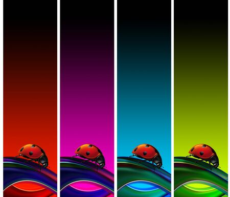 Set of four banners with ladybug and multicolored background photo