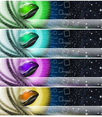 technologic: Four technologic banners or backgrounds with astral space, mouse, stars and binary code Stock Photo