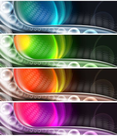 technological: Four banners or technological background with multicolored shades