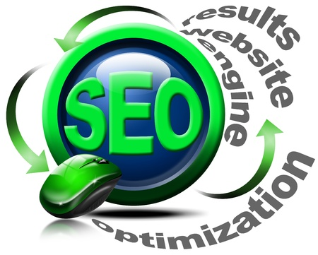 increase visibility: Illustration with mouse and written SEO, optimization, results, website, engine