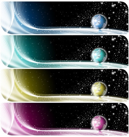 Four technologic banners or backgrounds with astral space, globe and stars