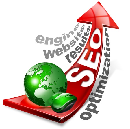 Written SEO with red arrow and globe, mouse and written: optimization, results, website, engine photo
