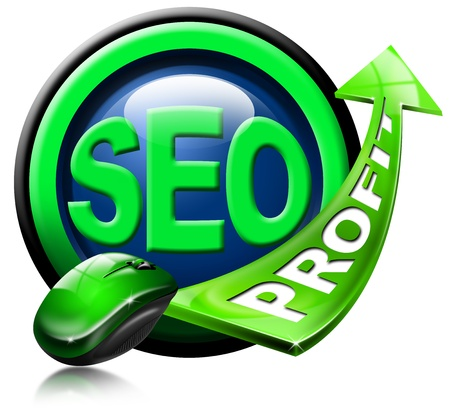 increase visibility: Written SEO and green arrow with the word profit and mouse
