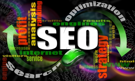 SEO - search engine optimization web word cloud and mouse photo