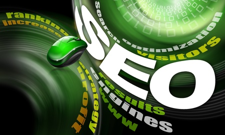 background seo - search engine optimization web, word cloud and mouse photo