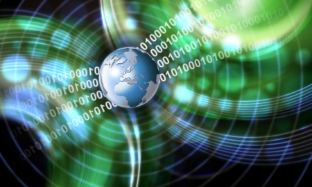 Green and blue technology background with globe, shades and binary code