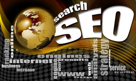 increase visibility: background seo - search engine optimization web, word cloud and world Stock Photo