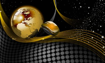 Background with golden globe and mouse, starry sky and shades photo
