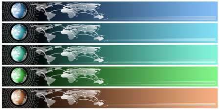 Five technological banners or backgrounds with astral globe, map and binary code