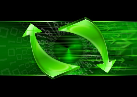 technology trends: Abstract background with green arrows, internet connection and flow