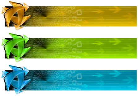 Three banners of internet technology and soft background with arrows