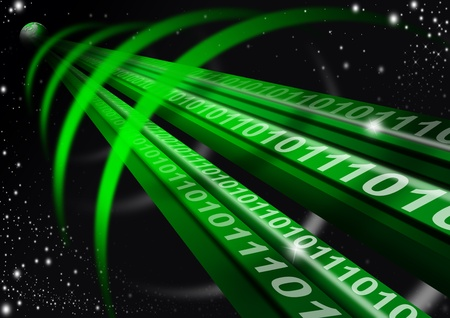 astral: Green astral space tunnel, binary code and globe Stock Photo