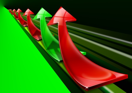 Arrows red and green curved upwards, the concept of economic success and business photo