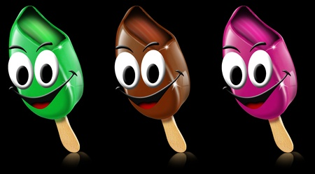 frozen fruit: Three cartoon colored ice creams with smile on a black background Stock Photo
