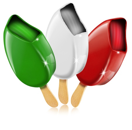 frozen food: Three ice cream white, red, green made in Italy, italian flag