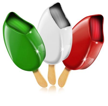 Three ice cream white, red, green made in Italy, italian flag