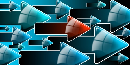 Abstract background with blue and one red arrows, internet connection and flow photo