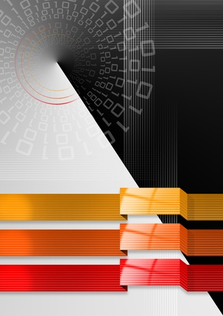 Abstract background with geometric bands of red and orange black gradient background Stock Photo - 10614647