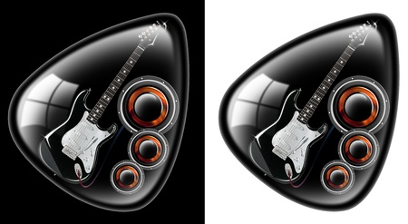 black plectrum with a guitar and woofer on a black and white background photo