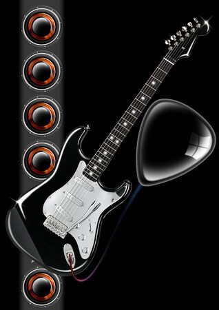 guitar amplifier: Electric guitar on black background with woofer and plectrum Stock Photo