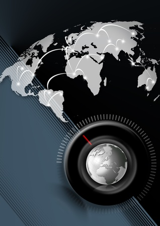 Blue background with map globe and timer, global connection  photo
