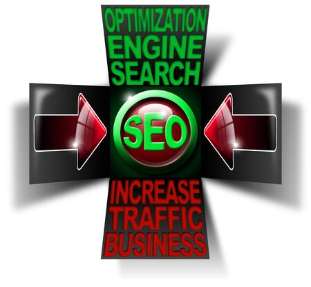 increase visibility: Illustration with open cube, icon SEO, 2 red arrows and written business search engine optimization traffic increase Stock Photo