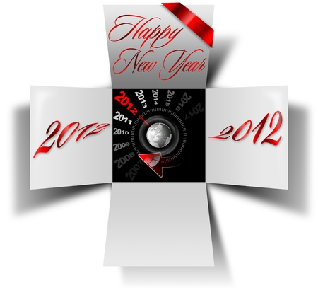 Open box with timer and written happy new year 2012 photo