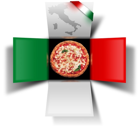 White red and green box with pizza and italian flag photo