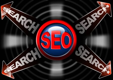 increase visibility: Seo search red arrows - Search engine optimization web Stock Photo