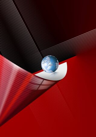 Background with globe and red and black abstract forms photo