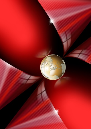 Illustration red and black background with gold globe illustration