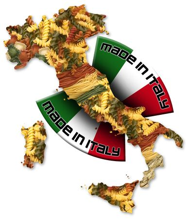 Italian territory with pasta and italian flag, made in Italy with a written photo