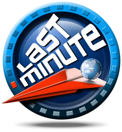 advantageous: Icon round with written last minute, red flight, globe and stylized clock Stock Photo