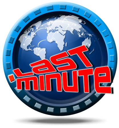 advantageous: Icon round with written last minute, globe and stylized clock