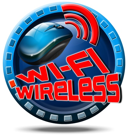 Icon round with red written wi-fi wireless, and mouse photo