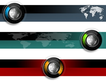 Three technological banners or backgrounds with globe and map