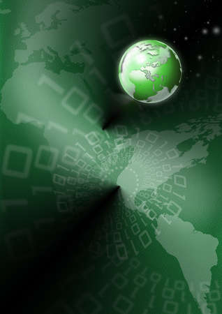 Background green skin with a world map, globe and binary code  photo