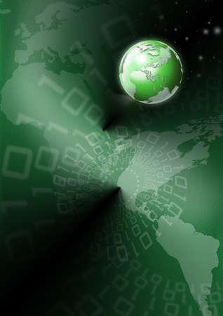 Background green skin with a world map, globe and binary code  photo