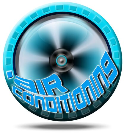 Blue symbol air conditioning with written air conditioning