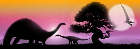 vague: Pastel landscape at sunrise with tree silhouette and dinosaurs