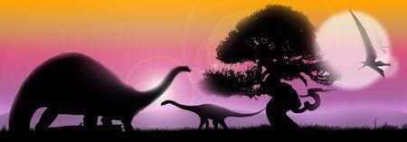 Pastel paisaje al amanecer con la silueta de los árboles y los dinosaurios Foto de archivo