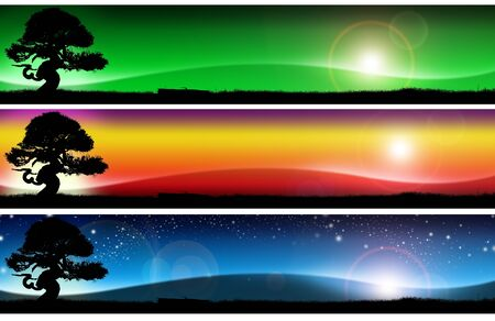 vague: Three banners with colorful landscapes of fantasy, with grass, tree, sky and hill Stock Photo