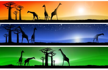 Three banners with african colorful landscapes of fantasy, with grass, baobab trees and giraffes photo
