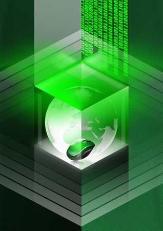 Green leather background with globe and mouse in a cube and binary code photo