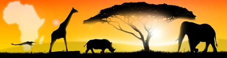 Illustration of an african landscape of fantasy, with a silhouette of a tree, elephant, rhino, giraffe and stork illustration