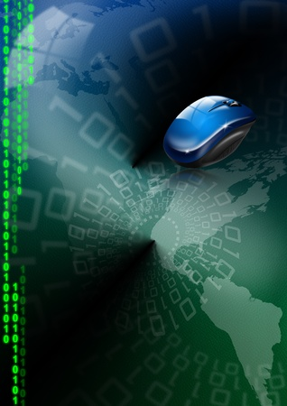 Background green and blue skin with a world map, mouse and binary code Stock Photo - 10758888