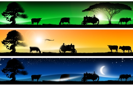 forage: Three banners of imagination with colorful landscapes of country life, with grass, trees, cows, tractor and bird