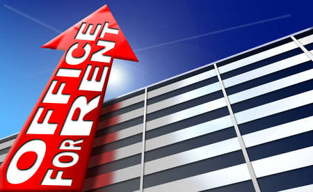 leasing: Illustration with generic building, red arrow with written office for rent on a blue sky