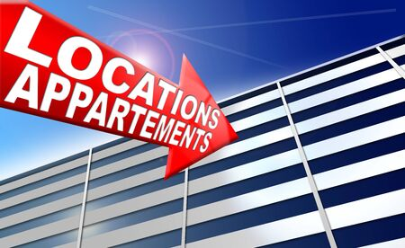 leasing: Illustration with generic building, red arrow with written location appartements on a blue sky Stock Photo