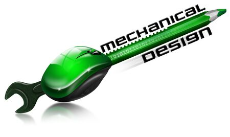 mechanical mouse: Pencil and wrench fused with gear and mouse and written mechanical design